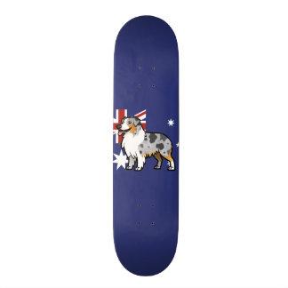 Cute Customizable Pet on Country Flag Skateboard Deck
