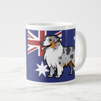 Cute Customizable Pet on Country Flag 20 Oz Large Ceramic Coffee Mug