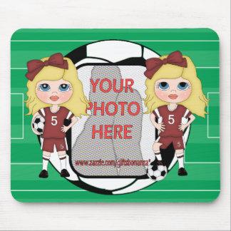Cute Customizable photo soccer Girl Mousepads