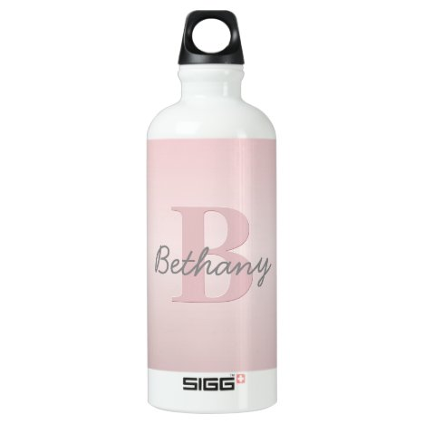 Cute Customizable Pink Monogram & Your Name Script Aluminum Water Bottle