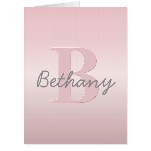 Cute Customizable Pink Monogram  Your Name Script Card