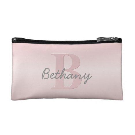 Cute Customizable Pink Monogram & Your Name Script Cosmetic Bag
