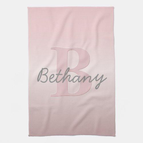 Cute Customizable Pink Monogram  Your Name Script Hand Towel