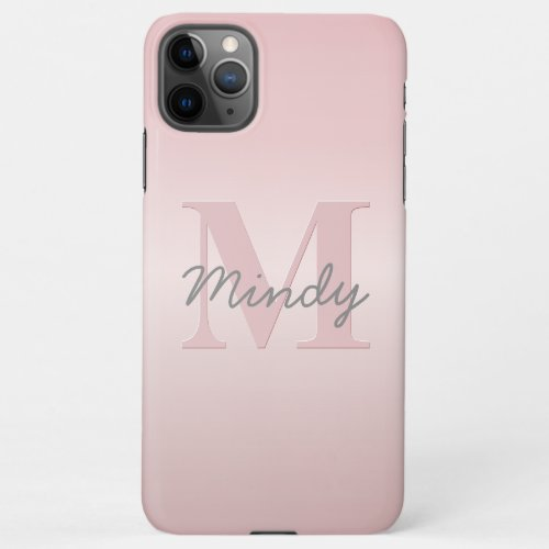 Cute Customizable Pink Monogram & Your Name Script Phone Case