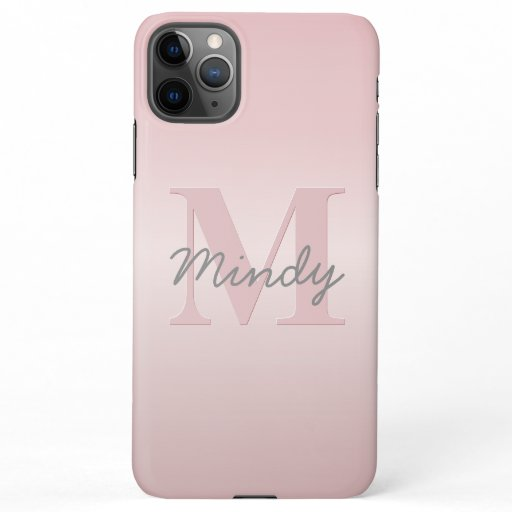 Cute Customizable Pink Monogram & Your Name Script iPhone 11Pro Max Case