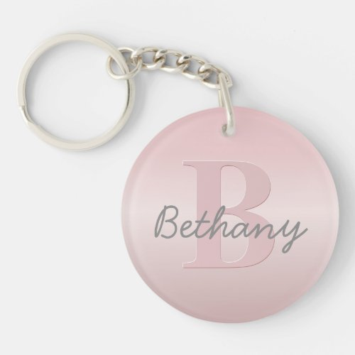 Cute Customizable Pink Monogram  Your Name Script Keychain