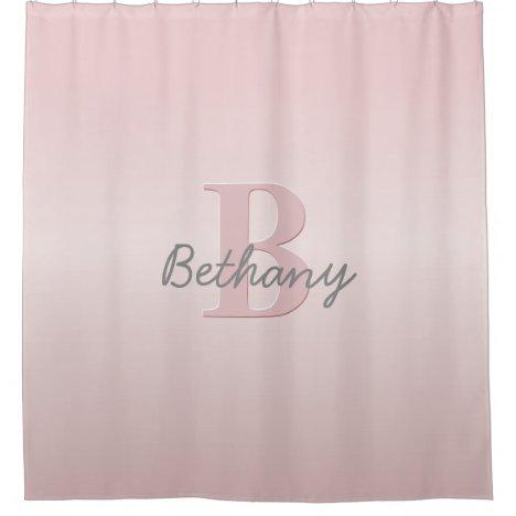 Cute Customizable Pink Monogram & Your Name Script Shower Curtain