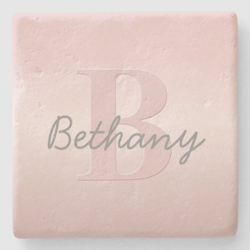 Cute Customizable Pink Monogram  Your Name Script Stone Coaster