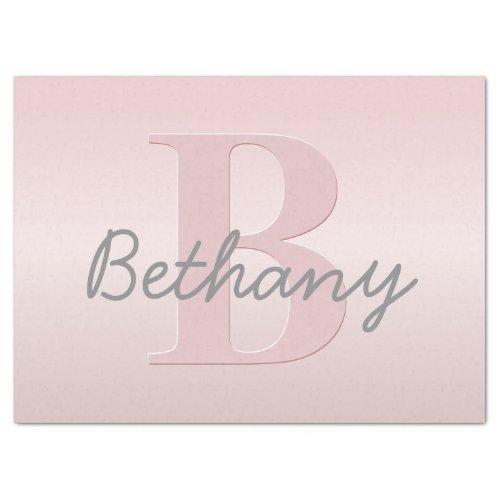 Cute Customizable Pink Monogram  Your Name Script Tissue Paper