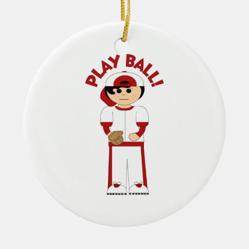 Cute Customizable PLAY BALL Baseball Kids Gifts Double-Sided Ceramic Round Christmas Ornament