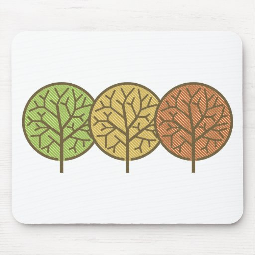 Cute Customizable Polka Dot Abstract Trees Mouse Pad