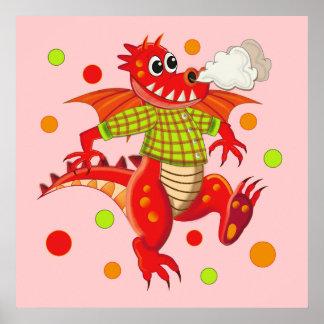 Cute customizable poster with Cartoon Dragon