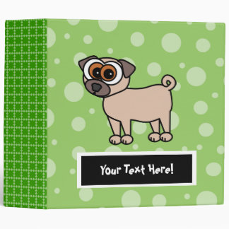 Cute Customizable Pug Binder - Large Green