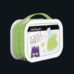 """Cute Customizable Science Project Lunch Box<br><div class=""""desc"""">Cute and playful,  enjoy this customizable &quot;science project&quot; lunchbox.  Complete with purple monster and green-liquid filled beaker,  it is a fun lunchbox!</div>"""