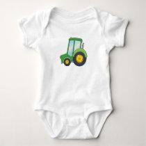 Cute Customizable Tractor Baby Bodysuit
