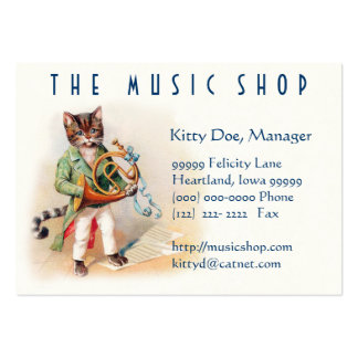 Cute Customizable Vintage Art Card - Musical Cats Large Business Card