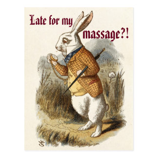 Cute CUSTOMIZABLE White Rabbit Massage Marketing Postcard