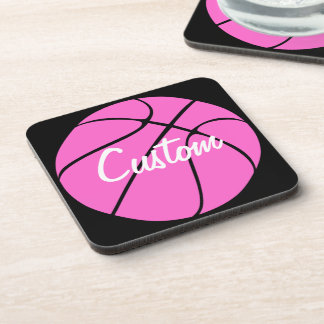 Cute Customized Pink Basketball Coasters