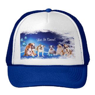 Cute, cute, cute! Bulldog Puppy Let It Snow Design Trucker Hat