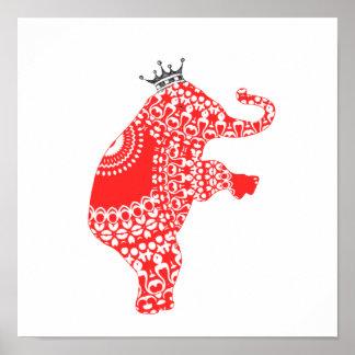Cute Cute Red Elephant Baby Nursery Print