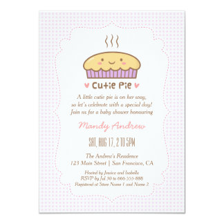Cute Cutie Pie Baby Girl Shower Invitations