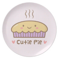 Cute Cutie Pie Doodle For Girls Plate