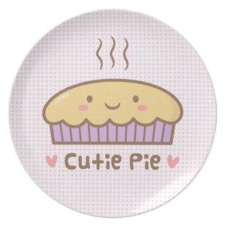 Cute Cutie Pie Doodle For Girls Plate