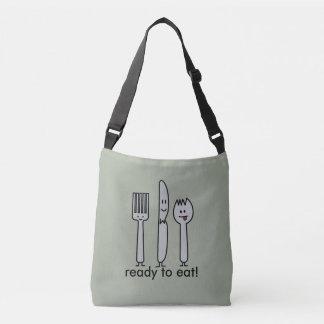 Cute Cutlery Utensils Fork Knife Spork Spoon Happy Crossbody Bag