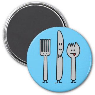 Cute Cutlery Utensils Fork Knife Spork Spoon Happy Magnet