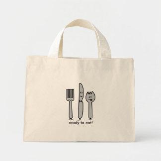 Cute Cutlery Utensils Fork Knife Spork Spoon Happy Mini Tote Bag