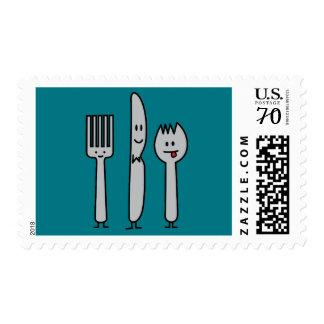 Cute Cutlery Utensils Fork Knife Spork Spoon Happy Postage