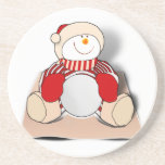 Cute Cutout Snowman Beverage Coaster