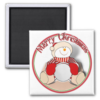 Cute Cutout Snowman - Merry Christmas Magnet