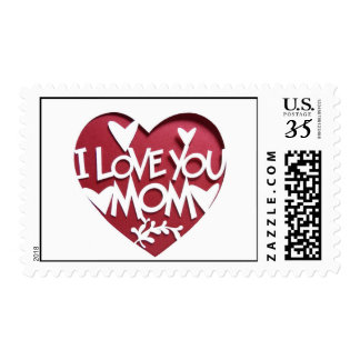 Cute Cutout Special I love you Mom Design Postage
