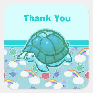 Cute Cyan Rainbow Turtle Square Sticker