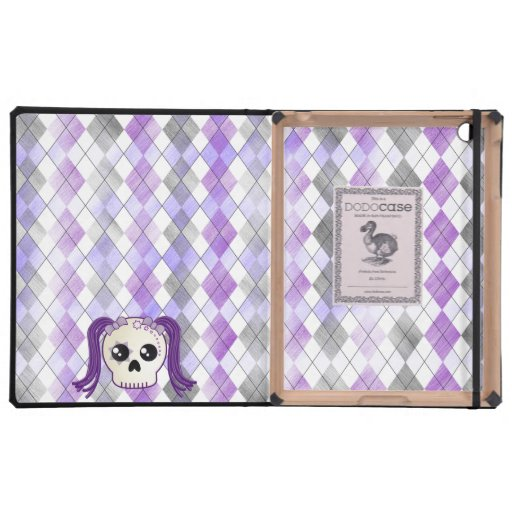 Cute Cyberpunk Emo Skull and Crossbones on Argyle Covers For iPad
