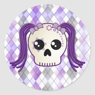 Cute Cyberpunk Emo Skull and Crossbones on Argyle Stickers