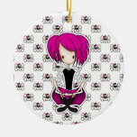 Cute Cyberpunk Goth Girl with Cerise Pink Hair Double-Sided Ceramic Round Christmas Ornament