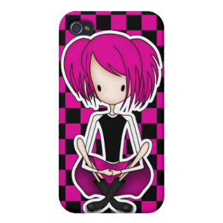 Cute Cyberpunk Goth Girl with Cerise Pink Hair iPhone 4/4S Case
