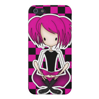 Cute Cyberpunk Goth Girl with Cerise Pink Hair iPhone SE/5/5s Cover