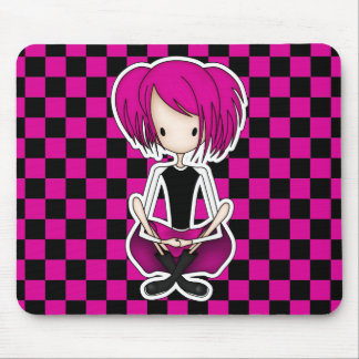 Cute Cyberpunk Goth Girl with Cerise Pink Hair Mouse Pad