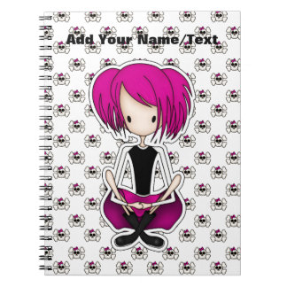 Cute Cyberpunk Goth Girl with Cerise Pink Hair Notebook