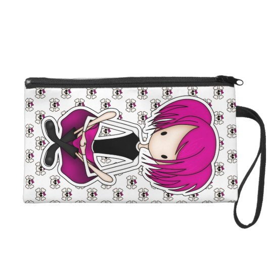 Cute Cyberpunk Goth Girl with Cerise Pink Hair Wristlet Purse