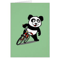 Greeting Card with Cute Cycling Panda design