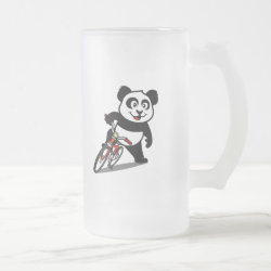 Frosted Glass Mug with Cute Cycling Panda design