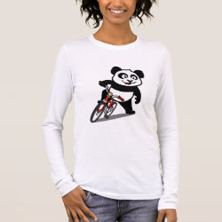 Women's Basic Long Sleeve T-Shirt with Cute Cycling Panda design