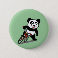 Round Button with Cute Cycling Panda design