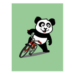 Postcard with Cute Cycling Panda design