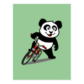 Cute Cycling Panda Postcard