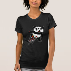 Women's American Apparel Fine Jersey Short Sleeve T-Shirt with Cute Cycling Panda design